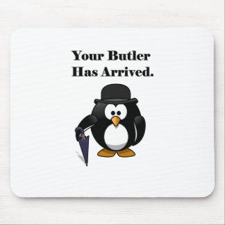 Dibujo animado lindo del pingüino del mayordomo tapete de ratón