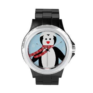 Dibujo animado lindo del pingüino del navidad relojes de pulsera