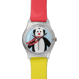 Dibujo animado lindo del pingüino del navidad relojes