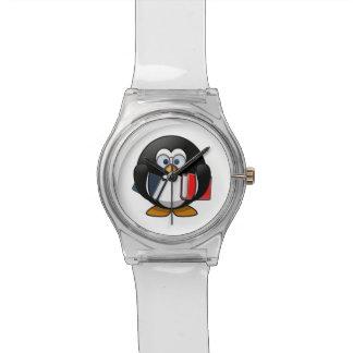 Dibujo animado lindo del pingüino del ratón de reloj