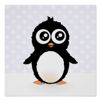 Dibujo animado lindo del pingüino impresiones