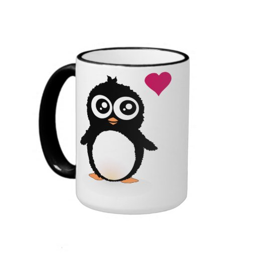 Dibujo animado lindo del pingüino taza a dos colores