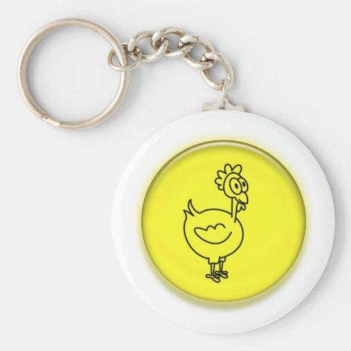 Dibujo animado lindo del pollo 3D Llavero Redondo Tipo Pin