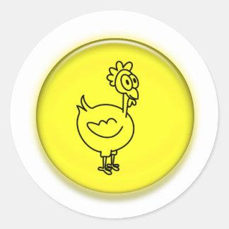 Dibujo animado lindo del pollo 3D Pegatina Redonda