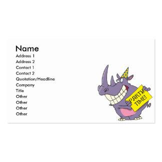 dibujo animado lindo del rinoceronte de la celebra plantilla de tarjeta personal