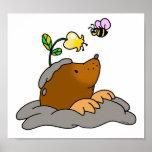 dibujo animado lindo del topo con una abeja de la  impresiones