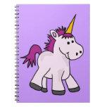 Dibujo animado lindo del unicornio del bebé libro de apuntes con espiral