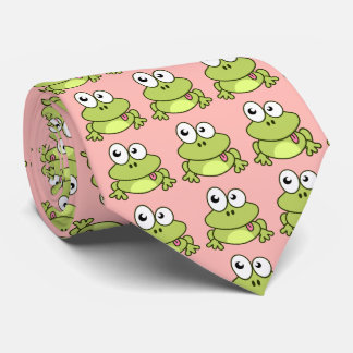 Dibujo animado lindo divertido de la rana corbata personalizada