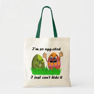 Dibujo animado lindo divertido de los huevos de bolsa tela barata