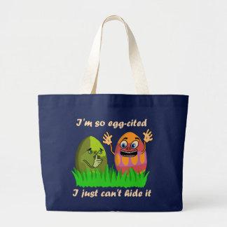 Dibujo animado lindo divertido de los huevos de bolsa tela grande