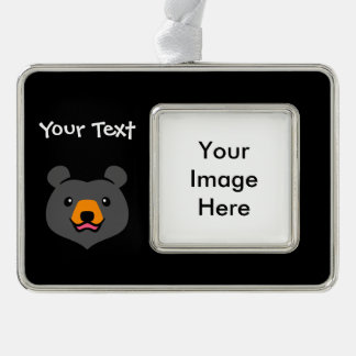 Dibujo animado lindo minimalista del oso negro adornos con foto