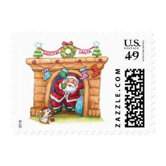 Dibujo animado lindo Papá Noel alegre que viene Estampilla