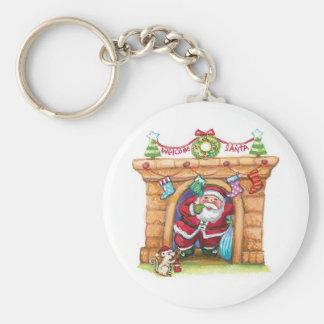 Dibujo animado lindo Papá Noel alegre que viene Llavero Redondo Tipo Pin