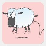 dibujo animado lindo tonto de las ovejas del corde calcomanía cuadradas personalizadas