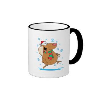 dibujo animado lindo tonto del oso de santa del na taza de café