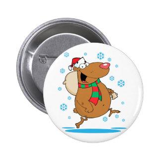 dibujo animado lindo tonto del oso de santa del pin redondo 5 cm