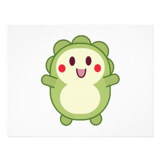 """Dibujo animado lindo verde del monstruo folleto 8.5"""" x 11"""""""