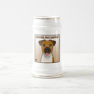 Dibujo animado liso del fox terrier jarra de cerveza