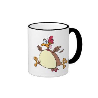 dibujo animado loco de la gallina del pollo tazas