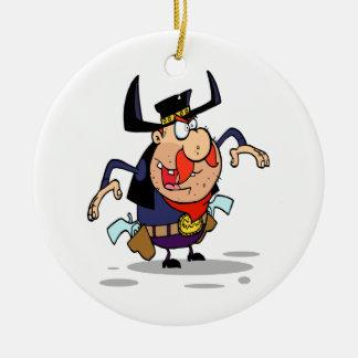 dibujo animado loco del vaquero del proscrito del adorno navideño redondo de cerámica