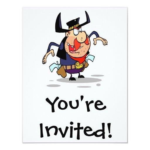 dibujo animado loco del vaquero del proscrito del invitacion personal
