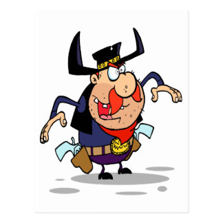 dibujo animado loco del vaquero del proscrito del  tarjetas postales