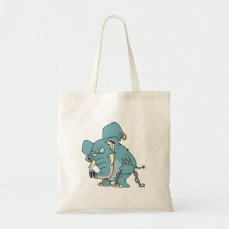 dibujo animado malo del elefante de los badass bolsa tela barata