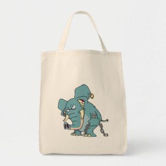 dibujo animado malo del elefante de los badass bolsa tela para la compra