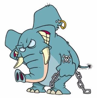 dibujo animado malo del elefante de los badass llavero fotográfico
