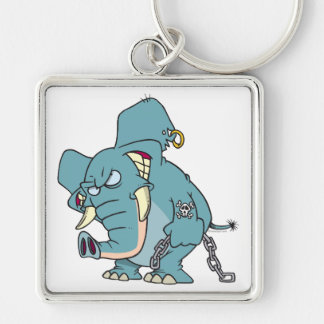 dibujo animado malo del elefante de los badass llavero cuadrado plateado