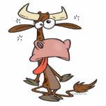 dibujo animado marrón cansado tonto de la vaca escultura fotografica