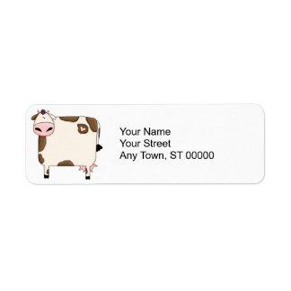dibujo animado marrón y blanco gordo tonto de la v etiqueta de remite