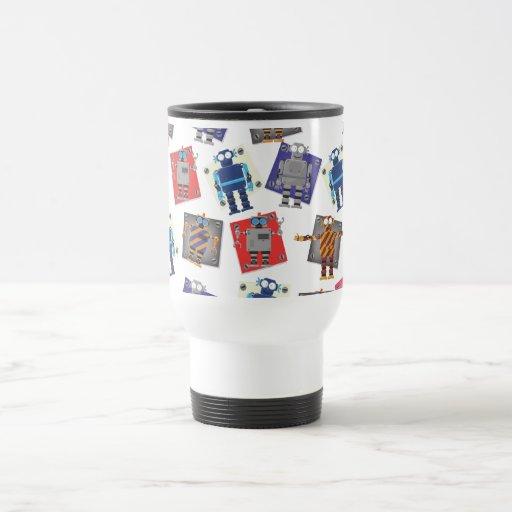 Dibujo animado mecánico del robot taza de viaje de acero inoxidable