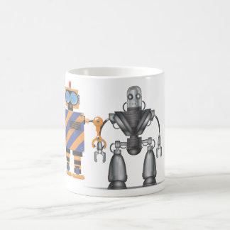 Dibujo animado mecánico del robot taza básica blanca