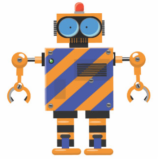 Dibujo animado mecánico lindo del robot fotoescultura vertical