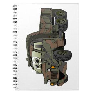 Dibujo animado militar del camión volquete libretas espirales
