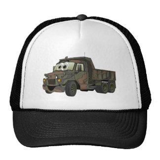 Dibujo animado militar del camión volquete gorros