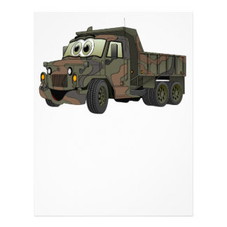 Dibujo animado militar del camión volquete membrete a diseño