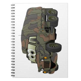 Dibujo animado militar del portador de tropa libretas espirales