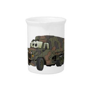 Dibujo animado militar del portador de tropa jarras de beber