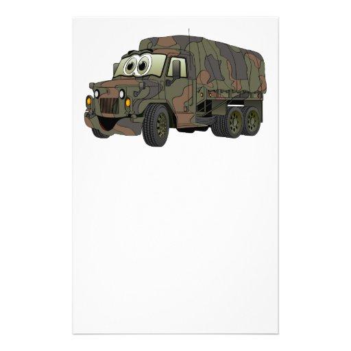 Dibujo animado militar del portador de tropa papelería personalizada