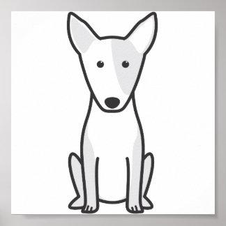 Dibujo animado miniatura del perro de bull terrier poster