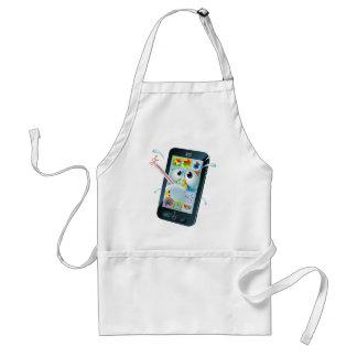 Dibujo animado móvil del teléfono celular del delantales