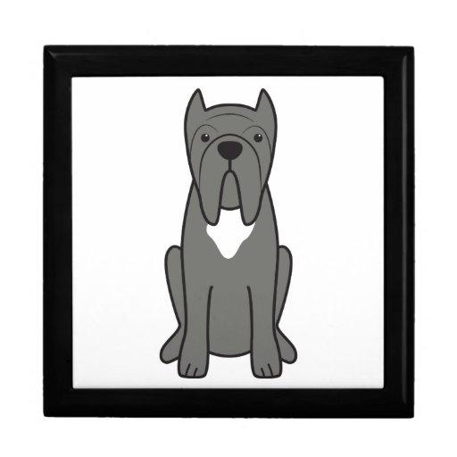 Dibujo animado napolitano del perro del mastín cajas de joyas