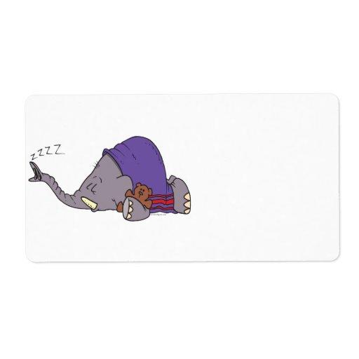 dibujo animado napping lindo del elefante el dormi etiquetas de envío