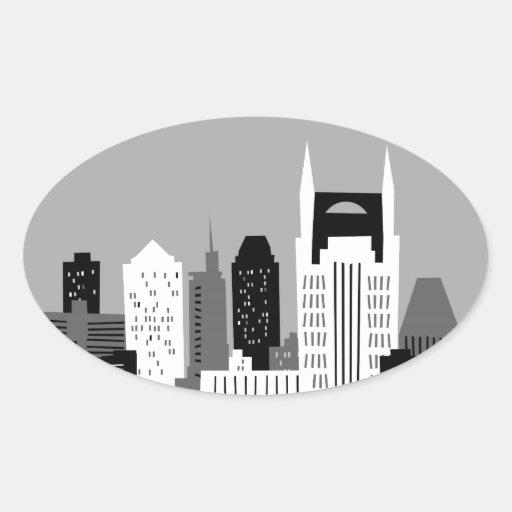 Dibujo animado Nashville Colcomanias Ovaladas Personalizadas