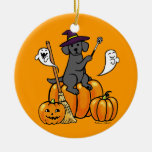 Dibujo animado negro 2 de Halloween Labrador Ornamentos Para Reyes Magos