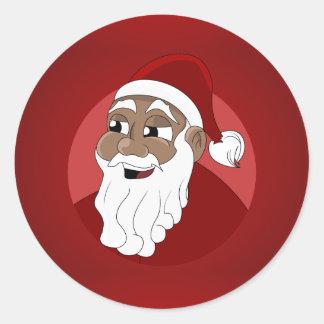 Dibujo animado negro de Papá Noel Pegatina Redonda