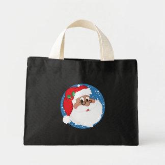 Dibujo animado negro de Santa (azul) Bolsa Tela Pequeña