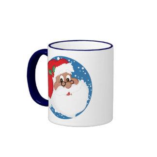 Dibujo animado negro de Santa (azul) Tazas De Café